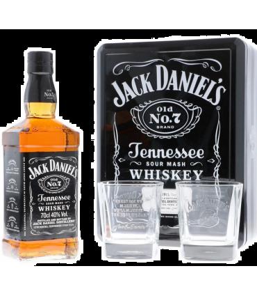 JACK DANIEL'S OLD N°7 + 2 GLAZEN IN TIN GB 70CL/40%
